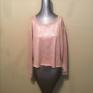 Agnes and Dora sparkle tan crop pullover sweaters